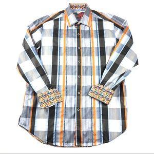 Robert Graham Flip Cuff Button Up Shirt Mens M